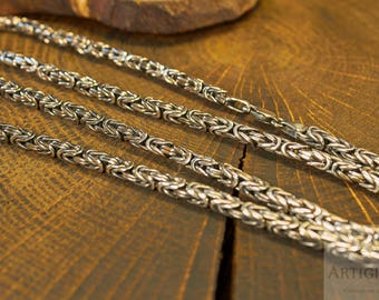 Sterling Silver Byzantine Chain, Handmade Chain, Necklace Chain, Heavy Chain, Solid Chain, Thick Chain, Large Chain, Mans Chain, Woman Chain