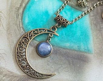 Kyanite - Art pattern Luna pendant