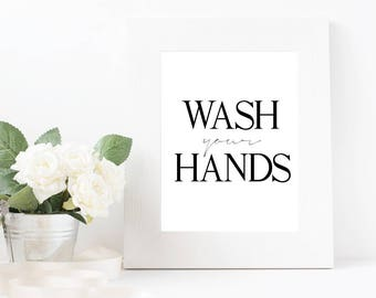 Bathroom Printable - Wash Your Hands, Bathroom Download, Wash Your Hands Print, Bathroom Decor, Digital Download, Bathroom Wall Art, Print