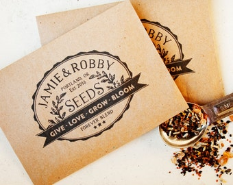 Vintage Seed Packet Wedding Favors - Give, Love, Grow, Bloom - Personalized Bag with Seeds - Seed Favor - 30 Packets or more