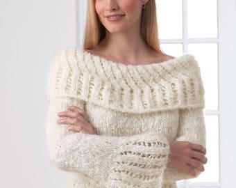 Ladies Elegant Lace Work Sweater with Boat Neckline, Knitting Pattern, PDF, Digital Download
