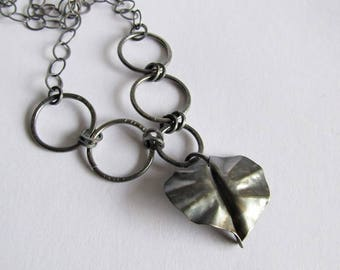 Fold Formed Sterling Silver Leaf Necklace with Dragonfly Clasp - Leaf Necklace - Dragonfly Jewelry - 25th Anniversary Gift