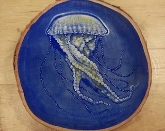 Handpainted Jellyfish on Birch