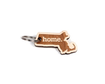 Massachusetts Key Charm by Home State Apparel: Laser Engraved Wood Keychain, MA