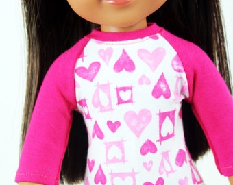 Fits like Wellie Wishers Doll Clothes - Hot Pink Valentine's Day Baseball Tee | 14.5 Inch Doll Clothes