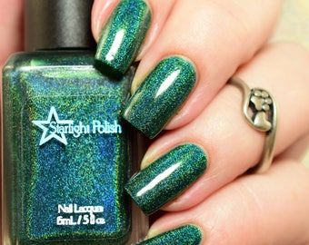 Spruce Green Holographic Winter Holodays Cool Holo Indie Nail Lacquer Starlight Polish