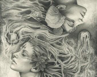 Twin Elementals Art Print