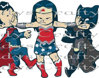 Digital file SVG and DXF and PNG  Superhero kid trio