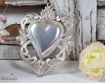 Ex Voto ~ votive heart ~ flaming heart elaborately decorated ~ vintage ~ brocante ~ shabby ~ sacral ~ religious ~ hw3699v4