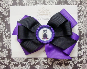 Girls hairbow, black and purple queen hairbow
