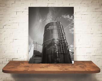 Silo Photograph - Fine Art Print - Black & White Photography - Wall Art - Wall Decor -  Farm Pictures - Farmhouse Decor - Clouds