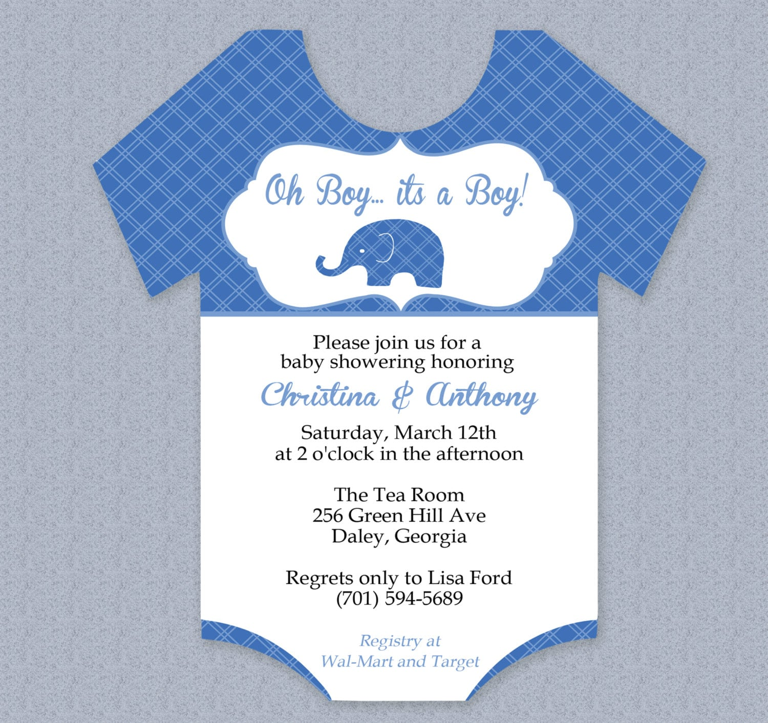 Plaid Elephant Onesie Baby Shower Invitation Editable Cutout