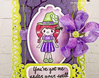 You've Got Me Under Your Spell Witch Halloween Scene Greeting Card