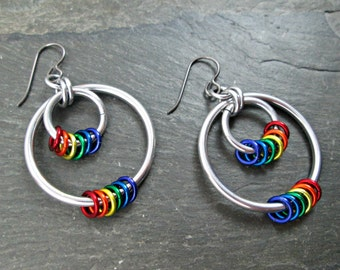 Rainbow Earrings - Pride Earrings - Rainbow Hoops - Pride Jewelry - Hoop Earrings
