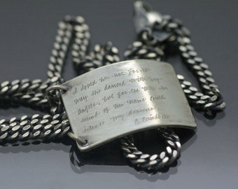 Heavy Sterling Silver Inscribed Tab Necklace with Quote, Christopher Poindexter, Dog Tag Necklace, Poetry Jewelry, Handwriting Jewelry