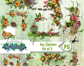 Digital Scrapbooking Clusters set of 5 IVY premade embellishment png clusters to make immediate scrap page