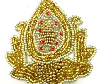 """Sale! Crest with Gold Beads, 3"""" x 2""""  -JJ141G-B009-0071"""