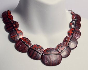 Red & Purple Pebbles Statement Necklace - NEW LOW PRICE