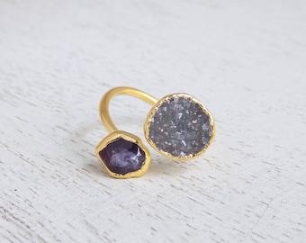 February Birthstone, Amethyst Ring, Amethyst Druzy Ring, Dual Stone Ring, Natural Stone Ring, Crystal Ring, Adjustable Gemstone Ring, R3-12