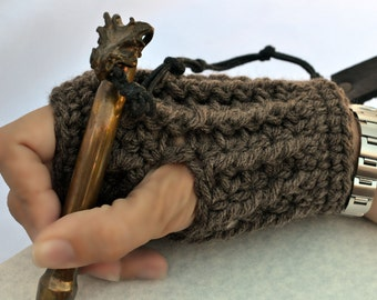 Cocoa brown ribbed hand warmers, fingerless gloves
