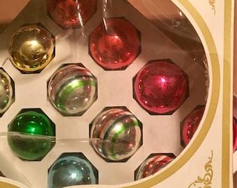 VINTAGE Shiny Brite Glass Ornaments, (12) pk in Shiny Brite Box, 1950s Christmas Tree Decor, Vintage Christmas, Shiny Brite Tree