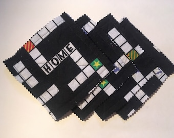 Crossword flannel coasters, set of 4