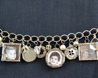 Build A Custom Photo Charm Bracelet, Hand Soldered Photo Charms, Personalized Charms, Mourning Jewelry, Sentimental Gift