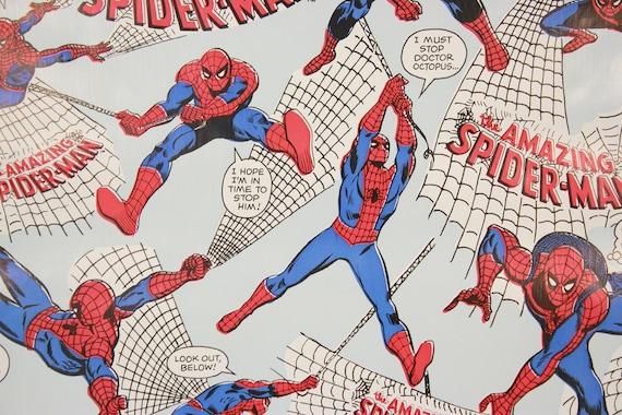 1970s Vintage Wallpaper Spider Man Marvel Comics Contact Paper