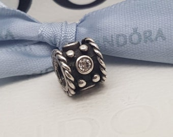 """Authentic Retired Pandora Charm """"Oxy Crown"""" Sterling Silver with CZs 790221CZ"""