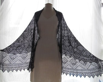 Exquisit Handmade Lace shawl in Cashmere and Cotton DARK BLUE