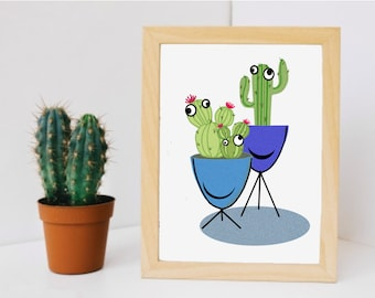 Googly Eyed Cactus Downloadable Digital Instant Print