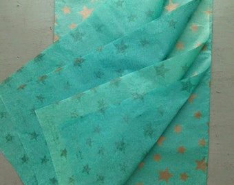 Aqua Green Mint/Gold Silk paper/Set of 5 sheets/Packing/Wrapping/Scrapbooking/Craft/Stars/Creative supply/67x43cm/India/Free Shipment