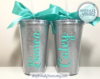 Personalized Glitter Cups, Glitter Tumbler, Custom Glitter Cups, Personalized Gift Idea, Monogram Tumbler, Party Tumblers