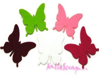 Set of 5 butterflies felt embellishment scrapbooking *.