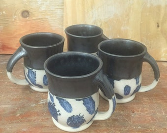 Set of 4 Handmade Pottery Mugs in Gunmetal Black with Mocha Diffusion 16oz
