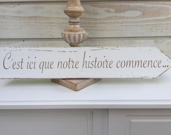 """Weathered wooden sign """"it's here our story begins..."""""""