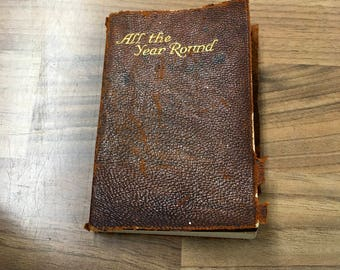 All the Year Round by Eleanor Farjeon , Antique Miniature Leatherbound Book Collins Clear Type Press
