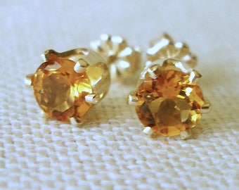 Citrine Earrings, Citrine Studs, November Birthstone, Bridesmaid Jewelry