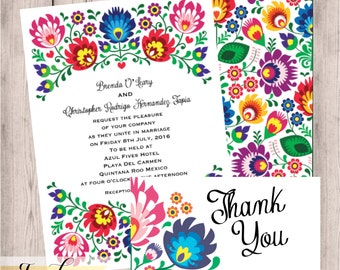 Floral, Folk, Fiesta, Wedding Invitation, Fiesta Wedding Invitation, Hispanic, Mexican Wedding, Wedding Suit, RSVP Card, Thank You Card