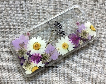 Genuine pressed dried flower Samsung / iphone case - crystal clear case