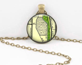 CUNY City College Map New York Manhattan Grad Gift Alumni Vintage Map  Geography Gift  Pendant Necklace or Key Ring