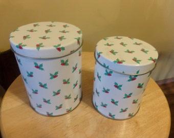 Vintage nesting tins, Christmas tins, Christmas stacking tins, Holly décor tins, Vintage Christmas tins, Cookie tins, Candy tins