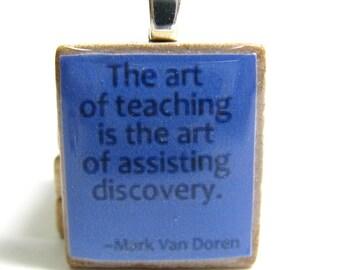 The art of teaching - blue purple Scrabble tile - great teacher gift