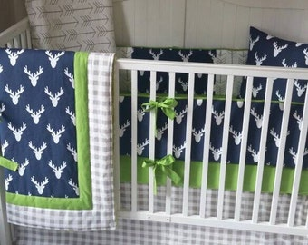 Baby Bedding Crib Sets Adventure Awaits Mountains Trees Navy