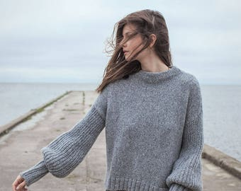 Grey sweater / Alpaca sweater / Bell sleeves / Balloon sleeves / Alpaca pullover / Chunky knit / Puffo sweater
