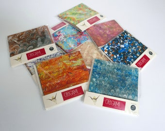 Origami paper with marbled patterns - 15x15cm - 42 sheets - kit 2