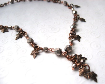 Copper Leaf Necklace, Antique Copper Leaves Beaded Necklace, Fall Fashion Jewelry, Autumn Accessories
