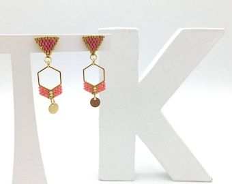 Earrings MAYA coral and gold