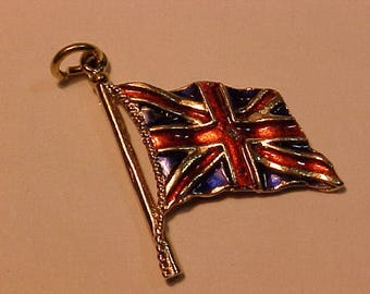 Colourful enamiled Union Jack Flag on pole charm.9ct(.375)hallmarked-