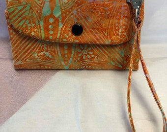 Batik Orange Phone Wallet Wristlet